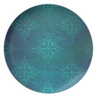 Blue Green Damask Pattern Dinner Plates