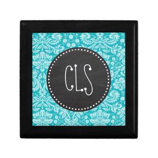 Blue-Green Damask Pattern Retro Chalkboard Gift Boxes