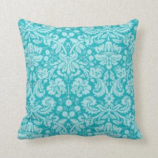 Blue-Green Damask Pattern Throw Pillow