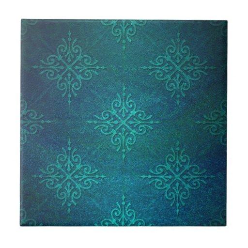 Blue Green Damask Pattern Ceramic Tiles