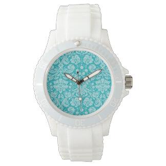 Blue-Green Damask Pattern Wrist Watch