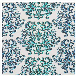 Blue Green Damask Print On Any Color Background Fabric