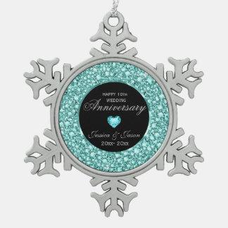 Blue-Green Diamonds Glitter 10th Anniversary Snowflake Pewter Christmas Ornament