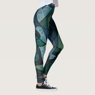 Blue Green Digital Stained Glass Unique Abstract Leggings