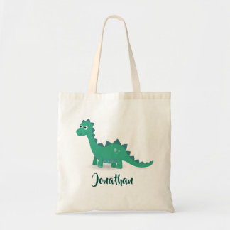 Blue green dinosaur personalized tote bag.