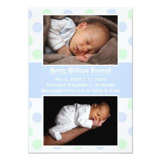 Blue & Green Dots 2 Photos - Birth Announcement