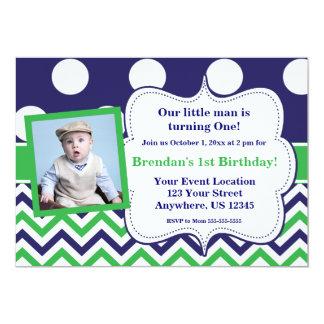 Blue Green Dots Chevron Photo Birthday Invitation