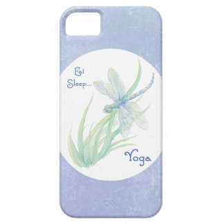 Blue, Green Dragonfly Eat, Sleep Yoga Motivational Barely There iPhone 5 Case