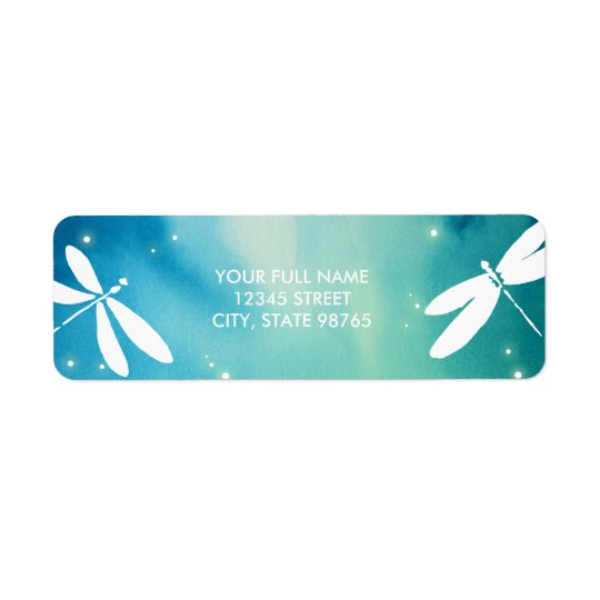 Blue Green Dragonfly Return Address Label Template