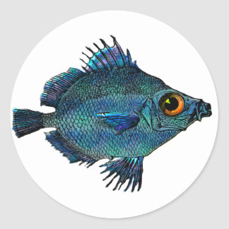 Blue Green Fantasy Discus Classic Round Sticker
