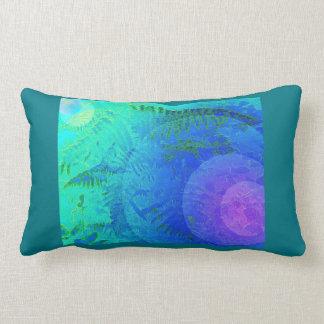 Blue Green Fern Abstract Lumbar Pillow