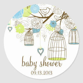 Blue & Green Floral Birdcages Baby Shower Sticker