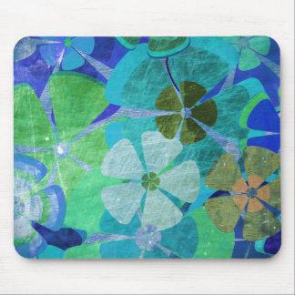 Blue Green Floral Vintage Mouse Pad