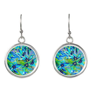 Blue Green Floral Watercolour Drop Earrings