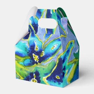Blue Green Floral Watercolour Favor Gift Box