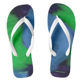 blue green fluffs thongs