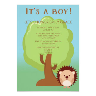 Blue Green Forest Animal Baby Boy Shower Card