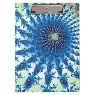 Blue Green Fractal Geometric Design Clipboard