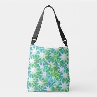 Blue Green Gemstone Compass Rhinestone Bling Look Crossbody Bag