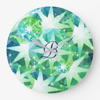 Blue Green Gemstone Compass Rhinestone Bling Look Large Clock