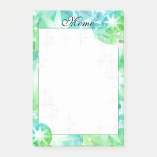 Blue Green Gemstone Compass Rhinestone Bling Look Post-it Notes