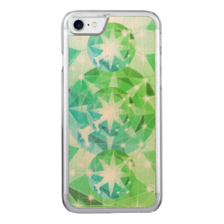 Blue Green Gemstone Compass Rhinestone Look Carved iPhone 8/7 Case