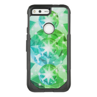 Blue Green Gemstone Compass Rhinestone Look OtterBox Commuter Google Pixel Case