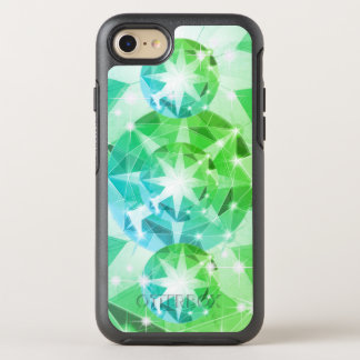 Blue Green Gemstone Compass Rhinestone Look OtterBox Symmetry iPhone 8/7 Case