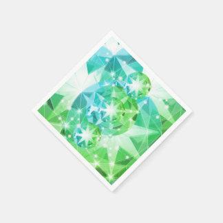 Blue Green Gemstone Compass Rhinestone Look Paper Napkins