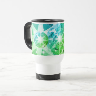 Blue Green Gemstone Compass Rhinestone Look Travel Mug
