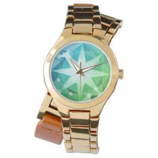 Blue Green Gemstone Compass Rhinestone Look Watch