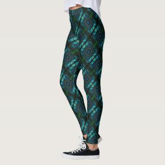 Blue & Green Geometry Leggings