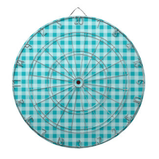 Blue-Green Gingham Dartboard With Darts