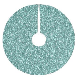 Blue Green Glitter Pattern Brushed Polyester Tree Skirt