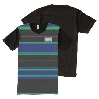 Blue Green Grey Lines Modern Designer T-Shirt