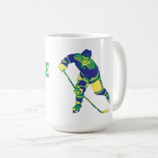 Blue & Green Ice Hockey Player, Personalized Mug