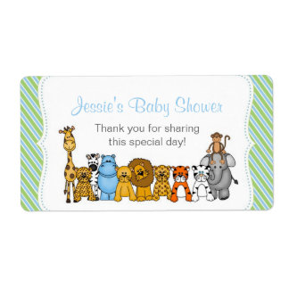 Blue Green Jungle Animals Water Bottle Favor Shipping Label
