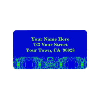 blue green address label