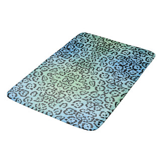 Blue Green Leopard Cat Animal Oil Paint Effect Bath Mat