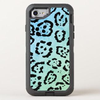 Blue Green Leopard Cat Animal Oil Paint Effect OtterBox Defender iPhone 8/7 Case