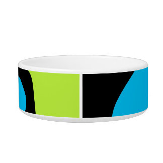 Blue green lime abstract art Pet bowl