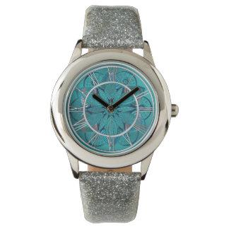 Blue Green Lotus Flower Mandala Watch