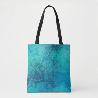 Blue Green Lotus Flower Tote Bag