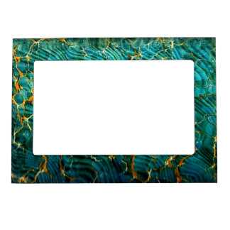 Blue Green Marble Abstract Magnetic Picture Frame