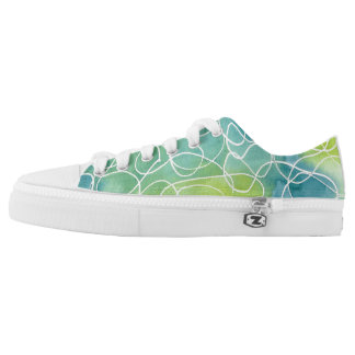 Blue & Green Marble Squiggle Low Tops
