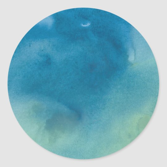 Round Green Marble : Blue green marble watercolour classic round sticker