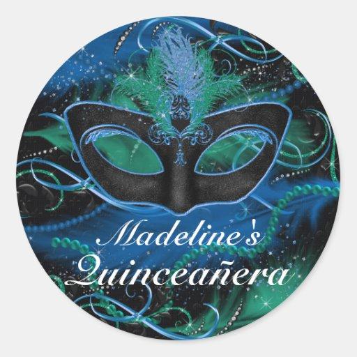Blue & Green Mask Masquerade Quinceanera Sticker