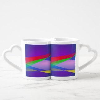 Blue Green Minimalism Abstract Art Couple Mugs