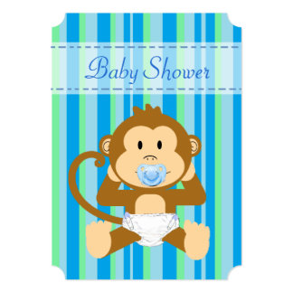 Blue Green Monkey Baby Shower Its a Boy Invitation