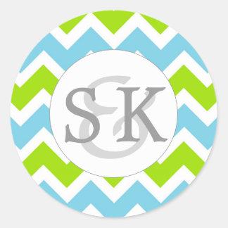 Blue Green Monogram Wedding envelope seals Round Sticker